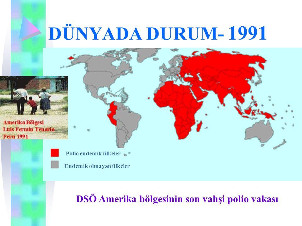 DÜNYADA DURUM- 1994 DSÖ Amerika bölgesi Poliosuz olarak sertifikalandırıldı Polio endemik ülkeler Endemik olmayan ülkeler Poliosuz olarak sertifikalandırıldı