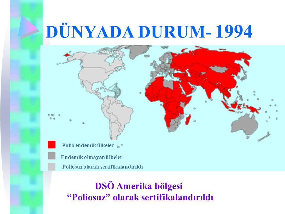 """DÜNYADA DURUM- 1994 DSÖ Amerika bölgesi """"Poliosuz"""" olarak sertifikalandırıldı Polio endemik ülkeler Endemik olmayan ülkeler Poliosuz olarak sertifikal"""