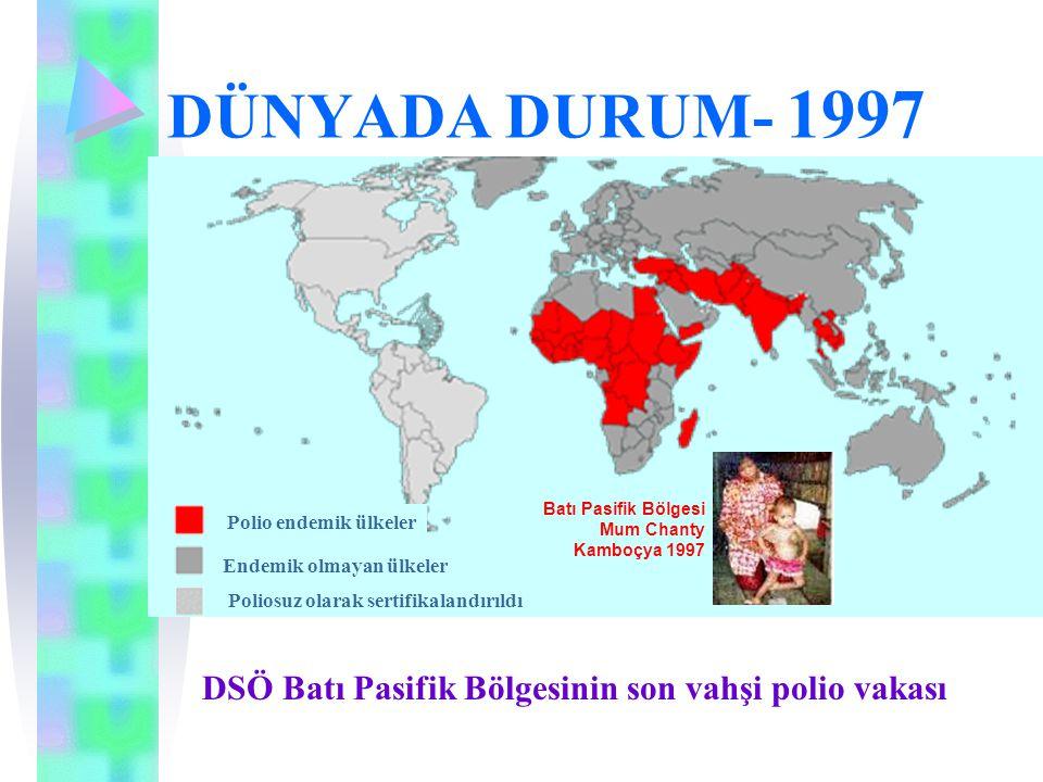 DÜNYADA DURUM- 1997 Polio endemik ülkeler Endemik olmayan ülkeler Poliosuz olarak sertifikalandırıldı DSÖ Batı Pasifik Bölgesinin son vahşi polio vaka