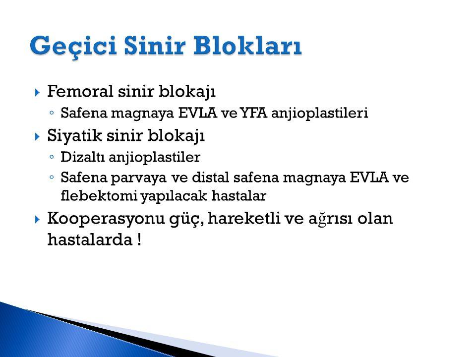  Femoral sinir blokajı ◦ Safena magnaya EVLA ve YFA anjioplastileri  Siyatik sinir blokajı ◦ Dizaltı anjioplastiler ◦ Safena parvaya ve distal safen