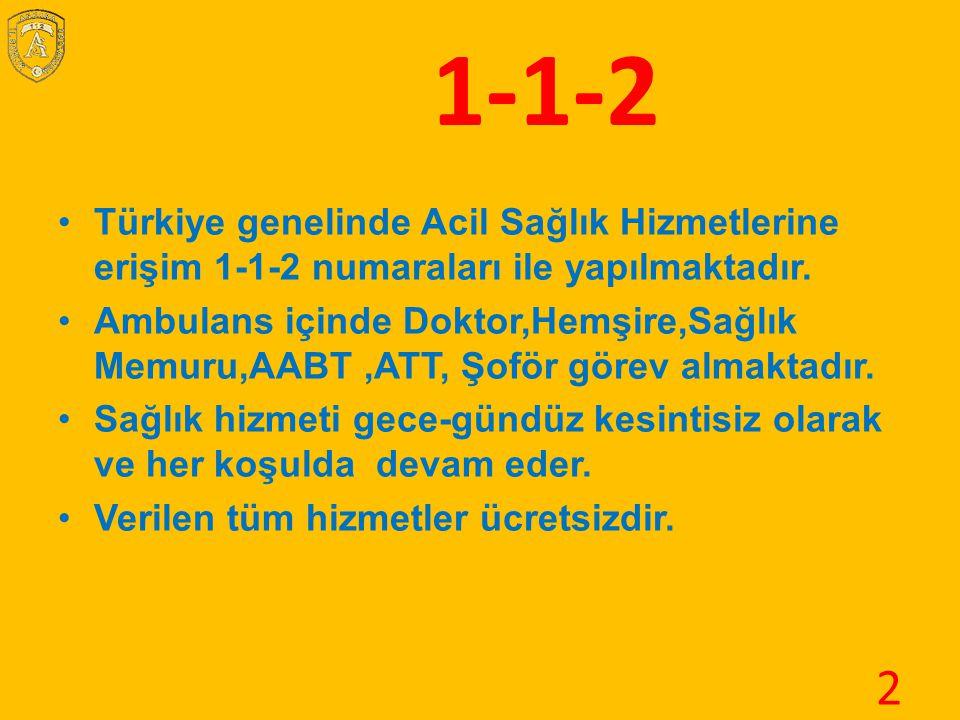 1-1-2 Türkiye genelinde Acil Sağlık Hizmetlerine erişim 1-1-2 numaraları ile yapılmaktadır. Ambulans içinde Doktor,Hemşire,Sağlık Memuru,AABT,ATT, Şof
