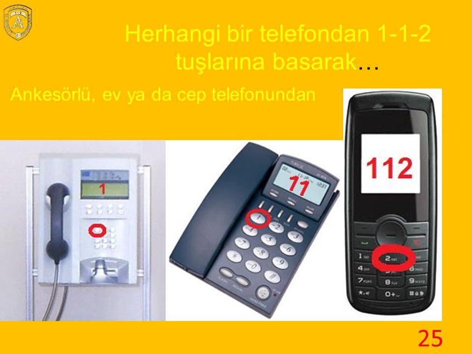Ankesörlü, ev ya da cep telefonundan Herhangi bir telefondan 1-1-2 tuşlarına basarak… 25