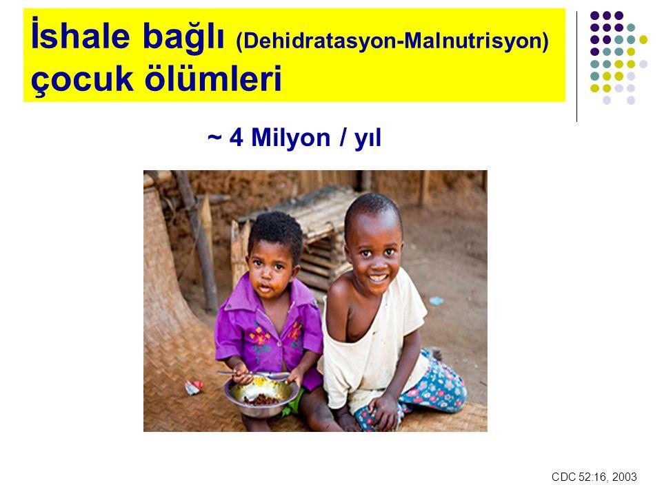 İshale bağlı (Dehidratasyon-Malnutrisyon) çocuk ölümleri ~ 4 Milyon / yıl CDC 52:16, 2003