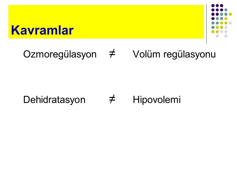 Kavramlar Ozmoregülasyon ≠ Volüm regülasyonu Dehidratasyon ≠ Hipovolemi
