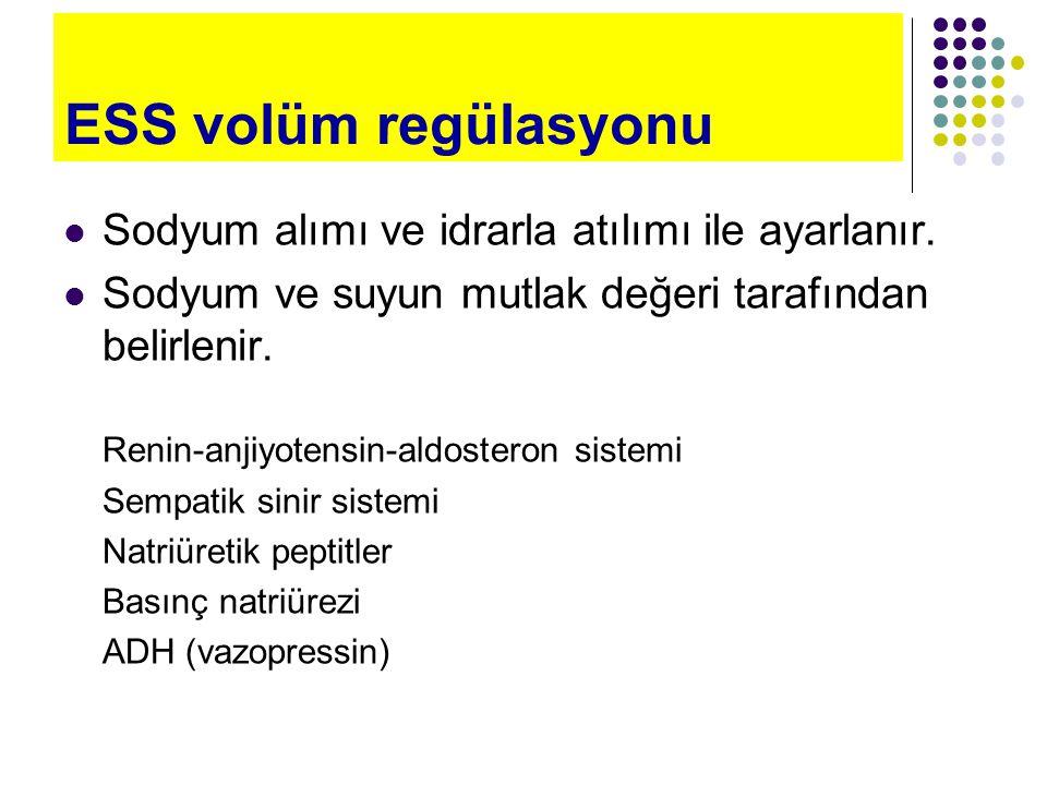 Ozmoregülasyon / Volüm regülasyonu OzmoregülasyonVolüm regülasyonu Algılanan Plazma ozmolalitesiEtkin dolaşkan volüm Algılayanlar Hipotalamik reseptörlerAfferent arteriyol Atriyumlar Etkenler ADHSSS, RAAS, ANP, Basınç natriürezi, ADH Sonuçlar Su alımı (susama) Su atılımı (ADH) Sodyum atılımı