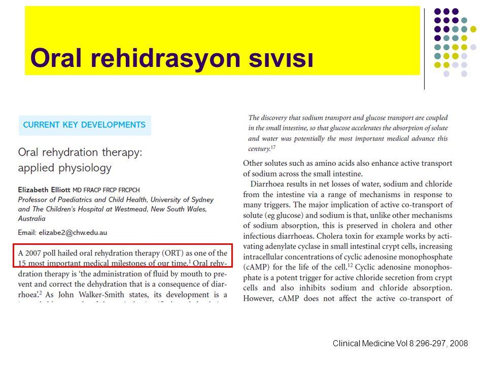 Clinical Medicine Vol 8:296-297, 2008 Oral rehidrasyon sıvısı