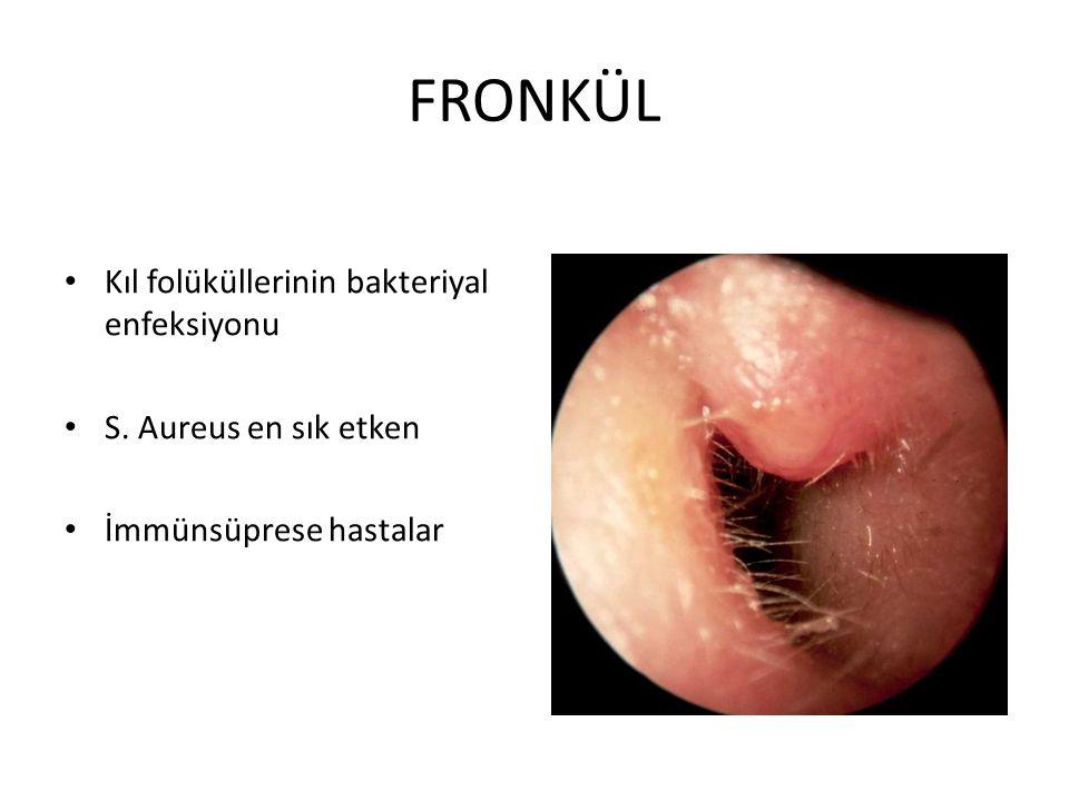 FRONKÜL Kıl folüküllerinin bakteriyal enfeksiyonu S. Aureus en sık etken İmmünsüprese hastalar