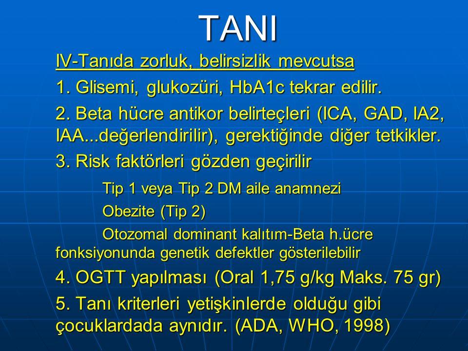 TANI I-Klasik semptomlar: 1. Ağır glukozüri: >1gr/dL->55 mmol/L 2. Ketonüri: Sıklıkla >4mmol/L-0,4g/L asetoasetat 3. Hiperglisemi: Plazma glukozu  11