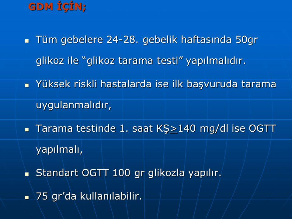 AKŞ >126 mg/dl veya AKŞ >126 mg/dl veya Rastlantısal KŞ >200 mg/dl ise Rastlantısal KŞ >200 mg/dl ise Daha sonra bu değerler doğrulanırsa GDM tanısı i