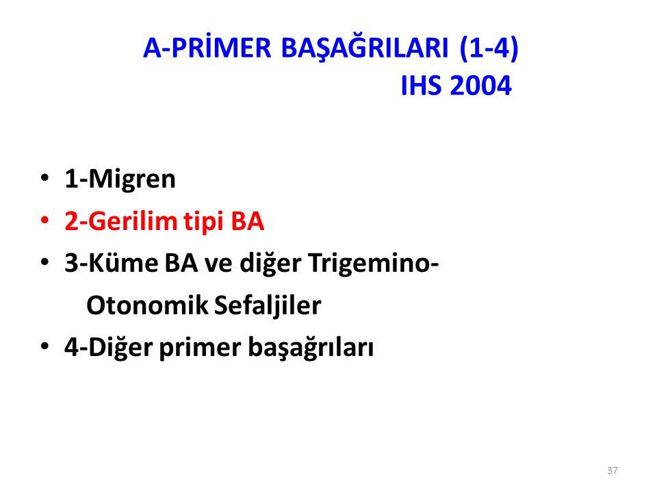 37 1-Migren 2-Gerilim tipi BA 3-Küme BA ve diğer Trigemino- Otonomik Sefaljiler 4-Diğer primer başağrıları A-PRİMER BAŞAĞRILARI (1-4) IHS 2004