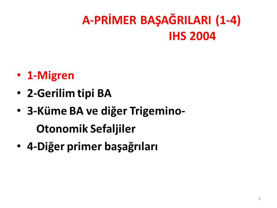 4 1-Migren 2-Gerilim tipi BA 3-Küme BA ve diğer Trigemino- Otonomik Sefaljiler 4-Diğer primer başağrıları A-PRİMER BAŞAĞRILARI (1-4) IHS 2004