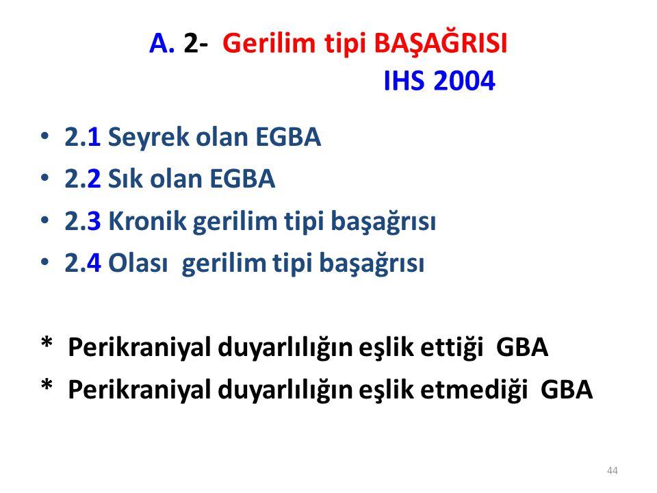 44 A. 2- Gerilim tipi BAŞAĞRISI IHS 2004 2.1 Seyrek olan EGBA 2.2 Sık olan EGBA 2.3 Kronik gerilim tipi başağrısı 2.4 Olası gerilim tipi başağrısı * P