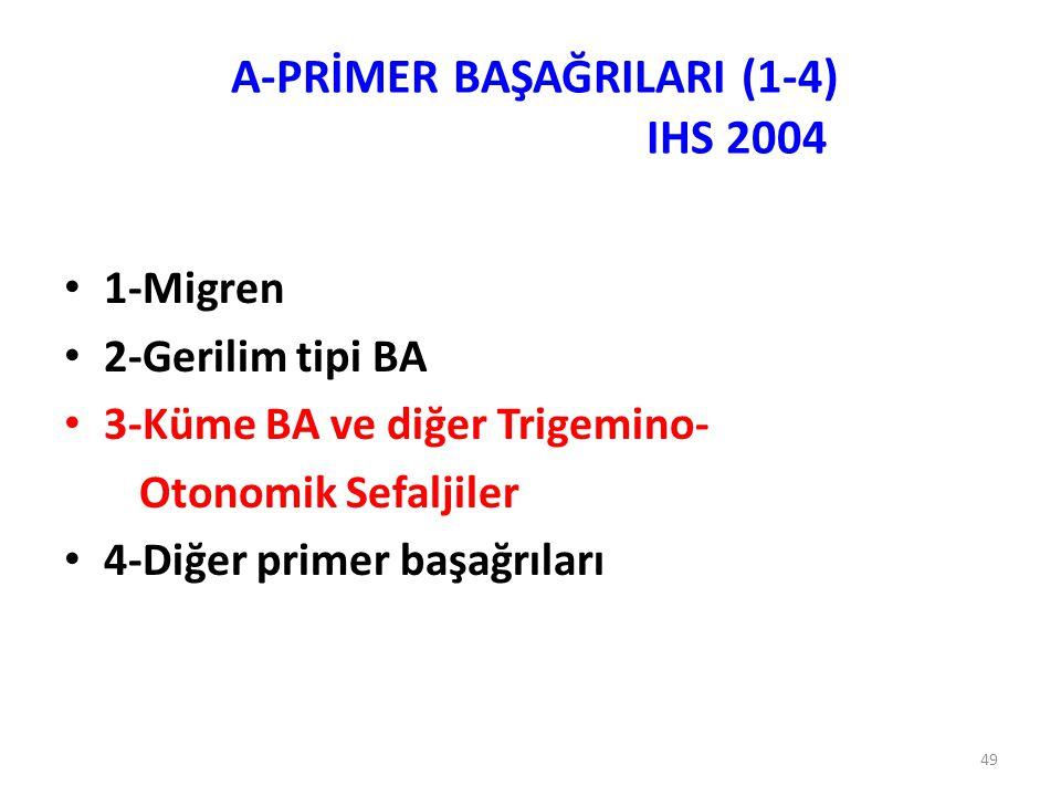 49 1-Migren 2-Gerilim tipi BA 3-Küme BA ve diğer Trigemino- Otonomik Sefaljiler 4-Diğer primer başağrıları A-PRİMER BAŞAĞRILARI (1-4) IHS 2004