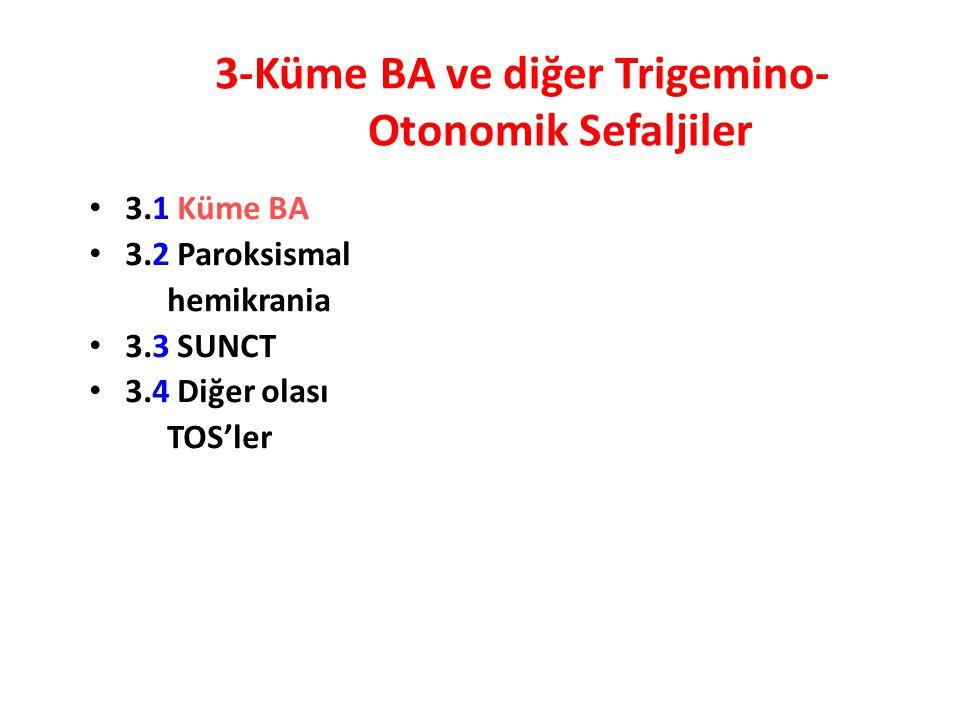 3-Küme BA ve diğer Trigemino- Otonomik Sefaljiler 3.1 Küme BA 3.2 Paroksismal hemikrania 3.3 SUNCT 3.4 Diğer olası TOS'ler