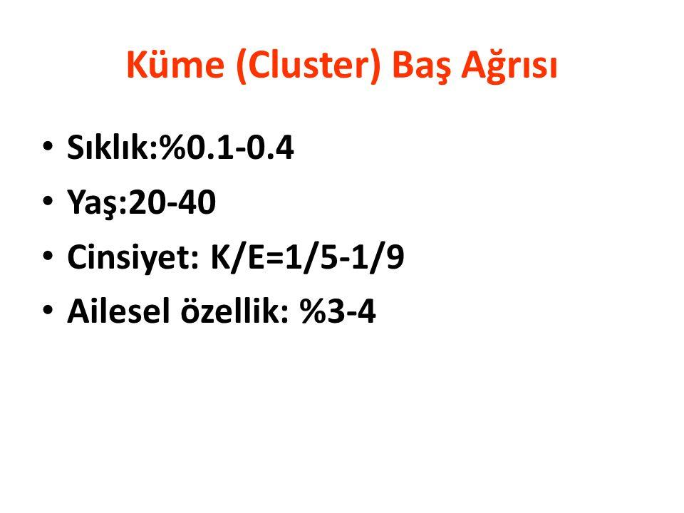 Küme (Cluster) Baş Ağrısı Sıklık:%0.1-0.4 Yaş:20-40 Cinsiyet: K/E=1/5-1/9 Ailesel özellik: %3-4