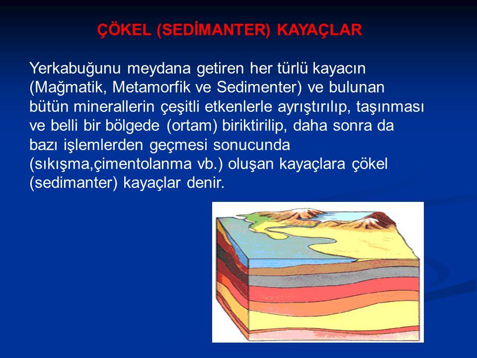 ÇÖKEL (SEDİMANTER) KAYAÇLAR Yerkabuğunu meydana getiren her türlü kayacın (Mağmatik, Metamorfik ve Sedimenter) ve bulunan bütün minerallerin çeşitli etkenlerle ayrıştırılıp, taşınması ve belli bir bölgede (ortam) biriktirilip, daha sonra da bazı işlemlerden geçmesi sonucunda (sıkışma,çimentolanma vb.) oluşan kayaçlara çökel (sedimanter) kayaçlar denir.