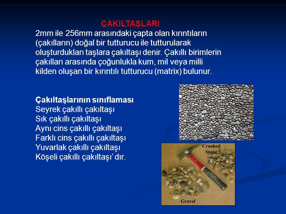 ÇAKILTAŞLARI 2mm ile 256mm arasındaki çapta olan kırıntıların (çakılların) doğal bir tutturucu ile tutturularak oluşturdukları taşlara çakıltaşı denir.