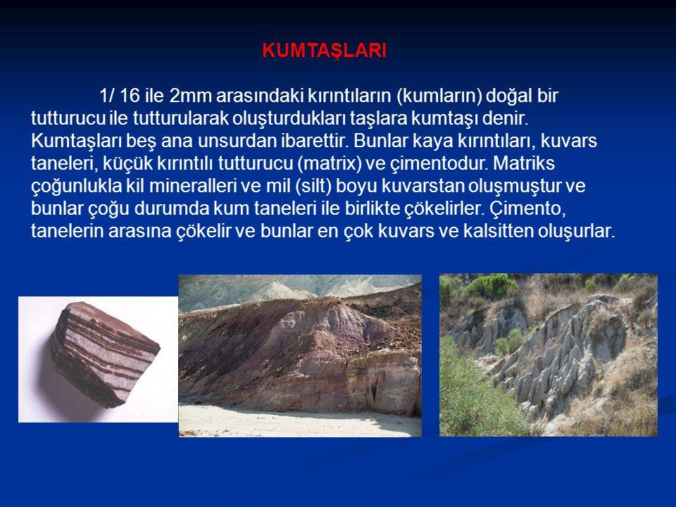 KUMTAŞLARI 1/ 16 ile 2mm arasındaki kırıntıların (kumların) doğal bir tutturucu ile tutturularak oluşturdukları taşlara kumtaşı denir.