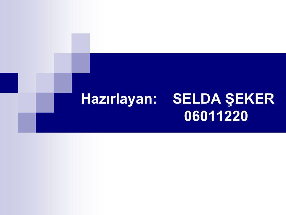 Hazırlayan: SELDA ŞEKER 06011220