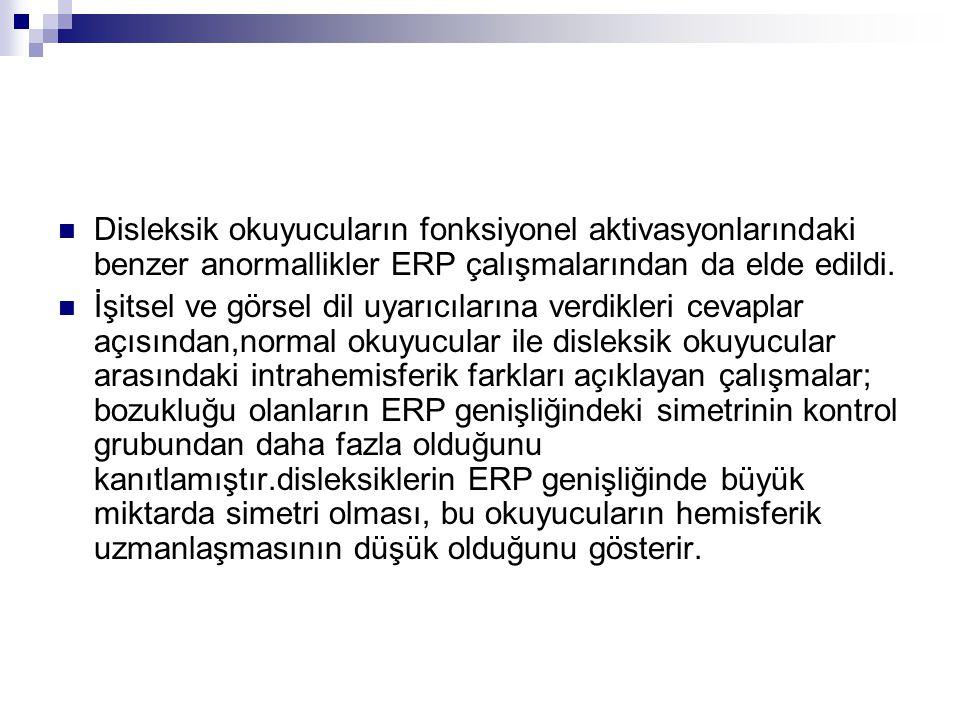 Disleksik okuyucuların fonksiyonel aktivasyonlarındaki benzer anormallikler ERP çalışmalarından da elde edildi.