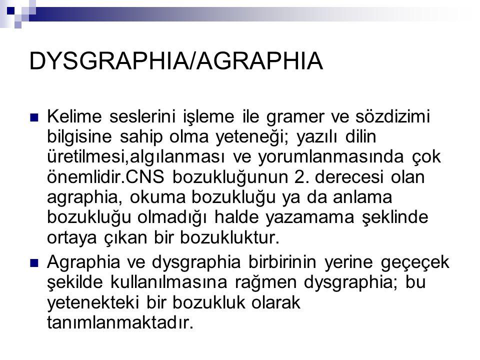DYSGRAPHIA/AGRAPHIA Kelime seslerini işleme ile gramer ve sözdizimi bilgisine sahip olma yeteneği; yazılı dilin üretilmesi,algılanması ve yorumlanmasında çok önemlidir.CNS bozukluğunun 2.