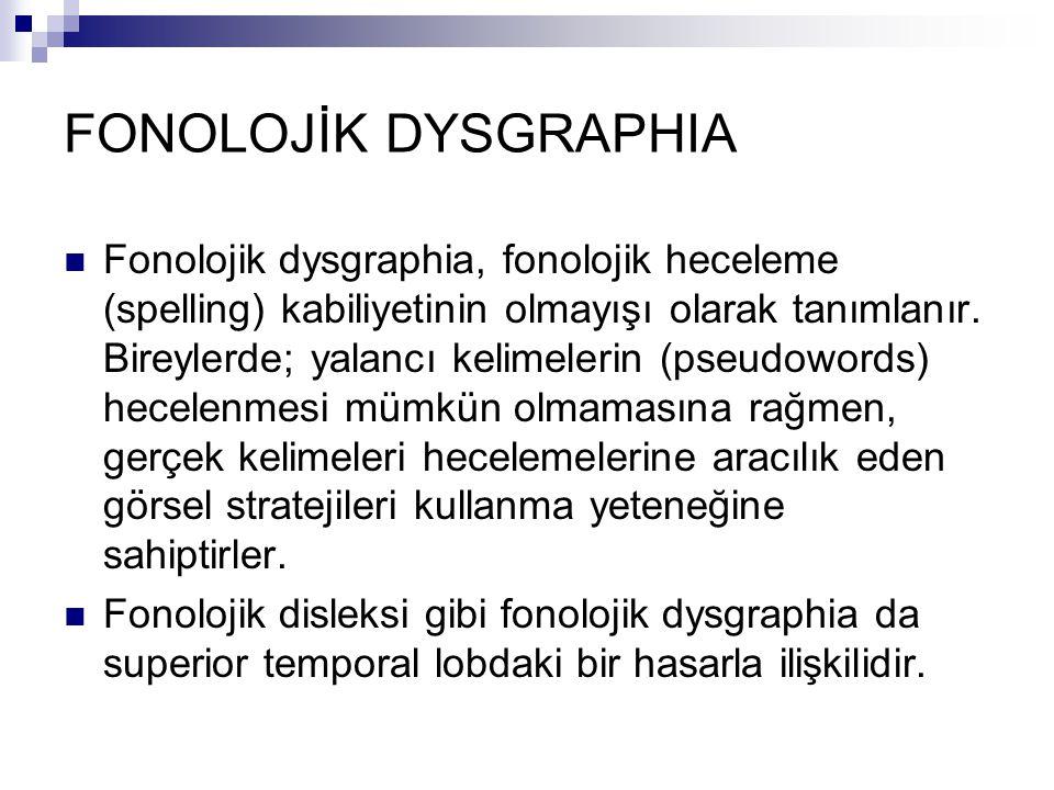 FONOLOJİK DYSGRAPHIA Fonolojik dysgraphia, fonolojik heceleme (spelling) kabiliyetinin olmayışı olarak tanımlanır.