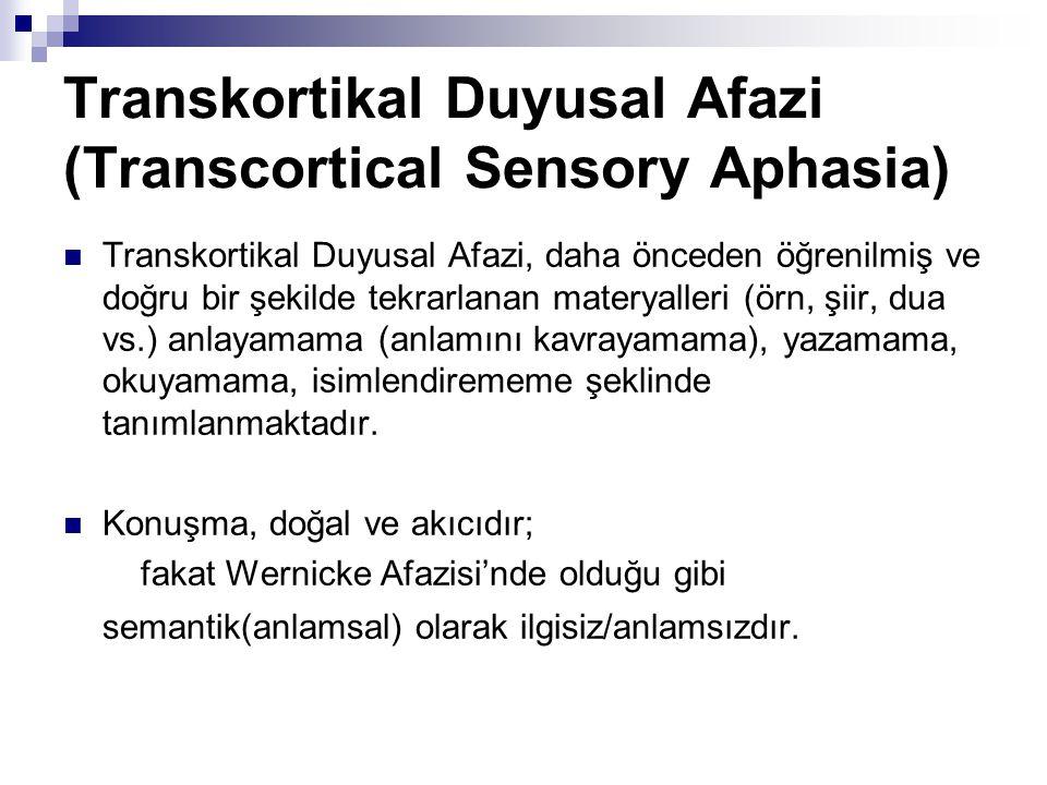Transkortikal Duyusal Afazi (Transcortical Sensory Aphasia) Transkortikal Duyusal Afazi, daha önceden öğrenilmiş ve doğru bir şekilde tekrarlanan materyalleri (örn, şiir, dua vs.) anlayamama (anlamını kavrayamama), yazamama, okuyamama, isimlendirememe şeklinde tanımlanmaktadır.