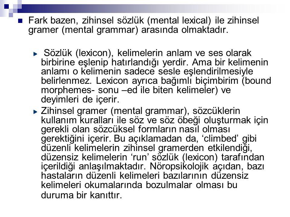 Fark bazen, zihinsel sözlük (mental lexical) ile zihinsel gramer (mental grammar) arasında olmaktadır.