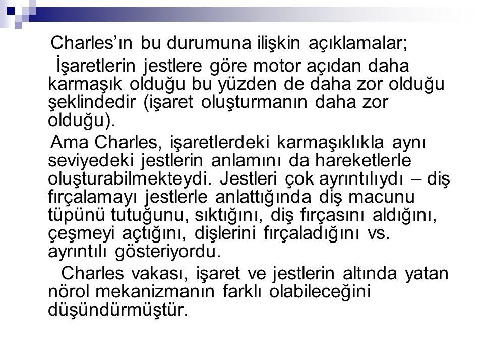 Charles'ın bu durumuna ilişkin açıklamalar; İşaretlerin jestlere göre motor açıdan daha karmaşık olduğu bu yüzden de daha zor olduğu şeklindedir (işaret oluşturmanın daha zor olduğu).