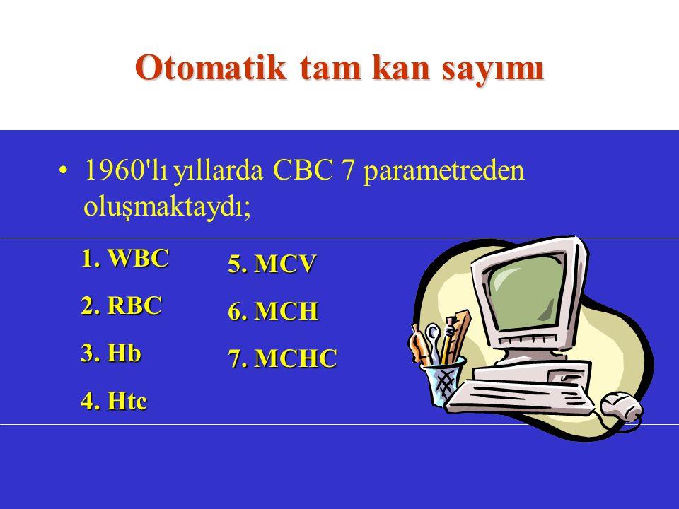 Otomatik tam kan sayımı 1960 lı yıllarda CBC 7 parametreden oluşmaktaydı; 1.
