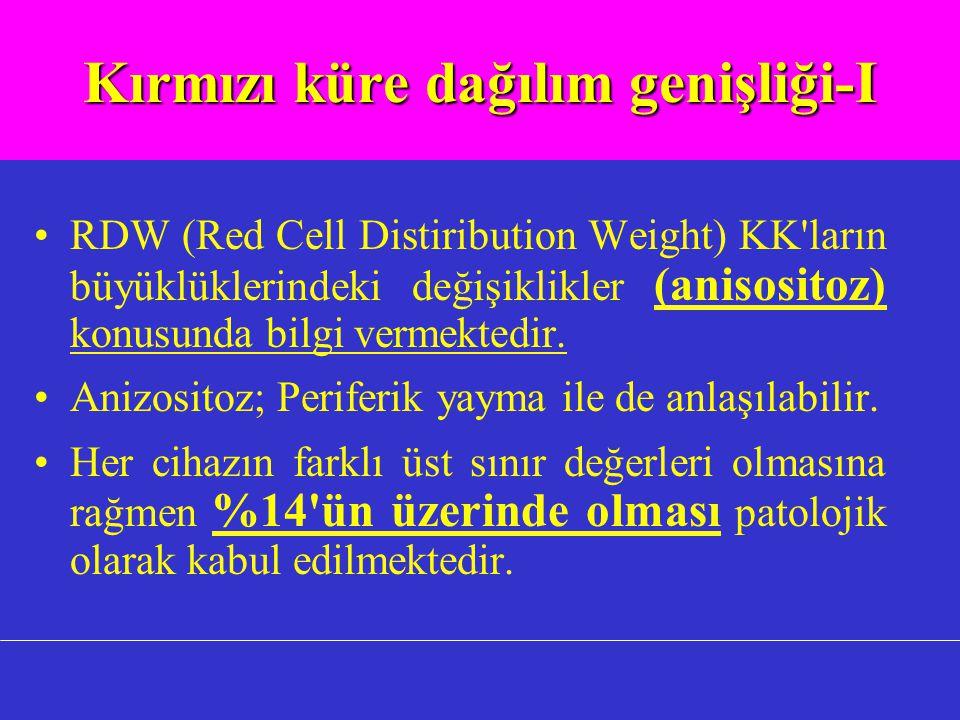 Kırmızı küre dağılım genişliği-I RDW (Red Cell Distiribution Weight) KK ların büyüklüklerindeki değişiklikler (anisositoz) konusunda bilgi vermektedir.