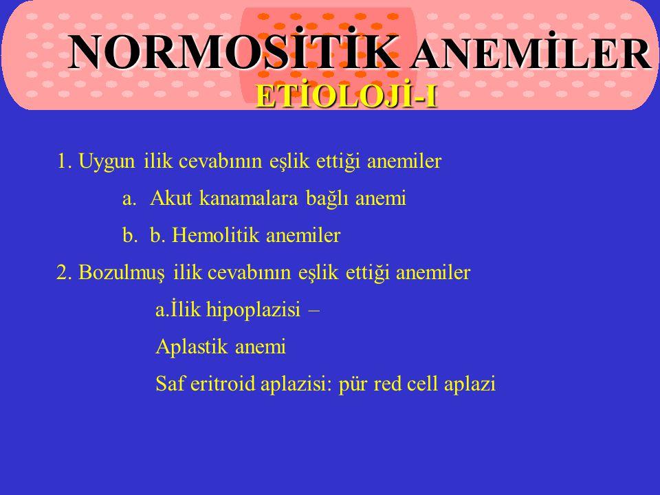 1.Uygun ilik cevabının eşlik ettiği anemiler a.Akut kanamalara bağlı anemi b.b.