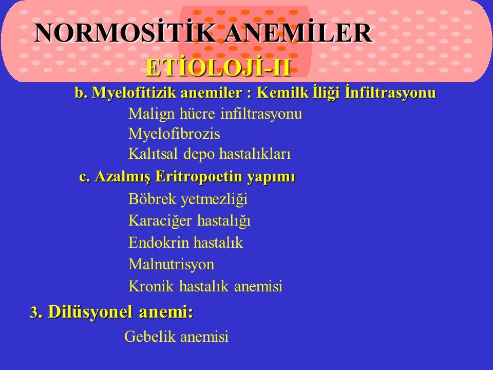 b.Myelofitizik anemiler : Kemilk İliği İnfiltrasyonu b.