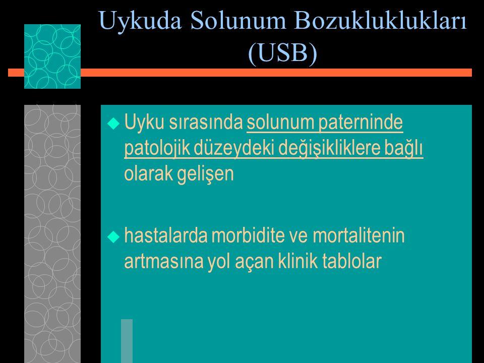 Uykuda Solunum Bozukluklukları (USB)  Uyku sırasında solunum paterninde patolojik düzeydeki değişikliklere bağlı olarak gelişen  hastalarda morbidit