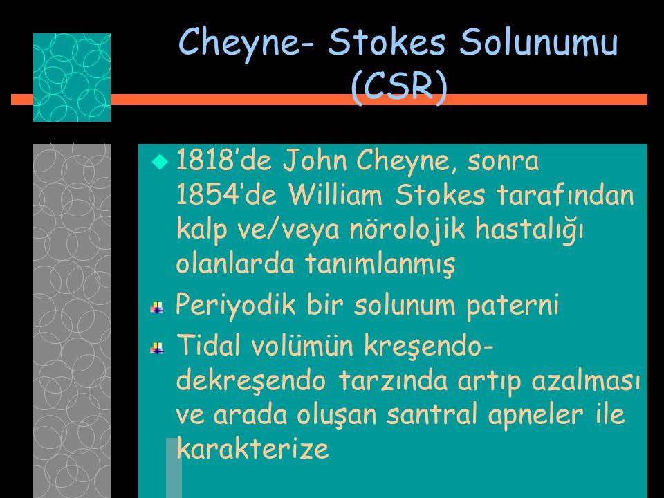 Cheyne- Stokes Solunumu (CSR)  1818'de John Cheyne, sonra 1854'de William Stokes tarafından kalp ve/veya nörolojik hastalığı olanlarda tanımlanmış Pe