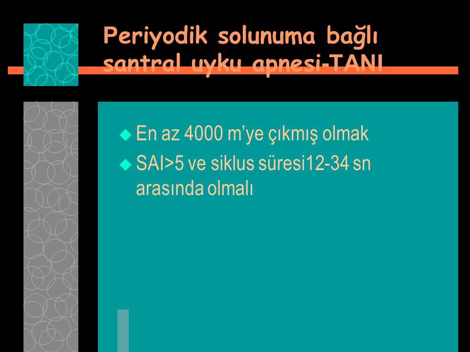 P eriyodik solunuma bağlı santral uyku apnesi -TANI  En az 4000 m'ye çıkmış olmak  SAI>5 ve siklus süresi12-34 sn arasında olmalı