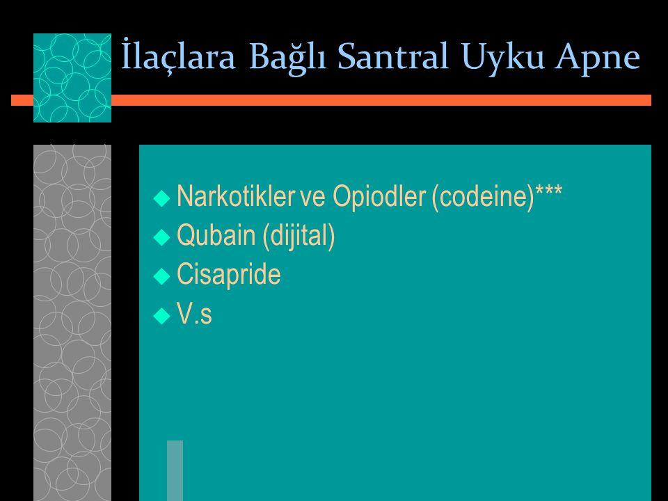İlaçlara Bağlı Santral Uyku Apne  Narkotikler ve Opiodler (codeine)***  Qubain (dijital)  Cisapride  V.s