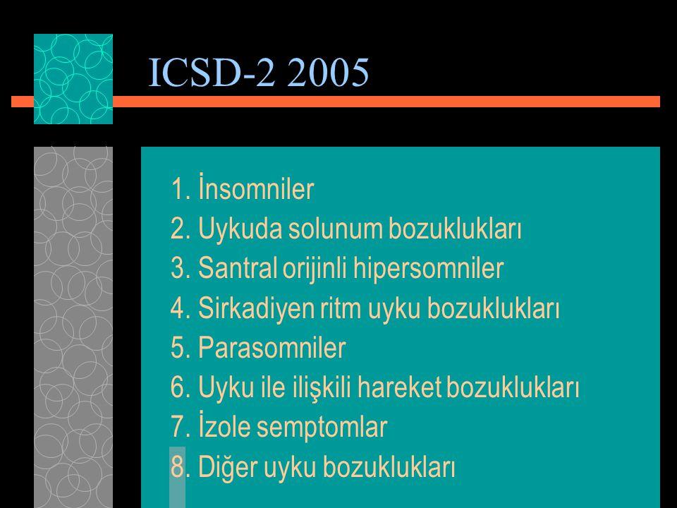 ICSD-2 2005 1. İnsomniler 2. Uykuda solunum bozuklukları 3. Santral orijinli hipersomniler 4. Sirkadiyen ritm uyku bozuklukları 5. Parasomniler 6. Uyk