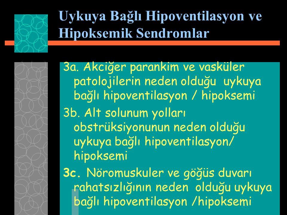 3a. Akciğer parankim ve vasküler patolojilerin neden olduğu uykuya bağlı hipoventilasyon / hipoksemi 3b. Alt solunum yolları obstrüksiyonunun neden ol