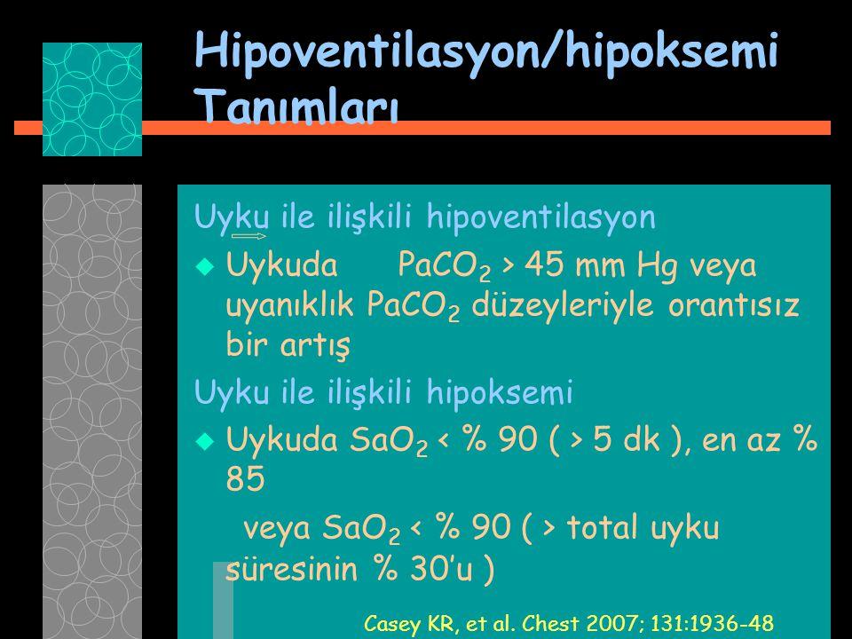 Hipoventilasyon/hipoksemi Tanımları Uyku ile ilişkili hipoventilasyon  Uykuda PaCO 2 > 45 mm Hg veya uyanıklık PaCO 2 düzeyleriyle orantısız bir artı