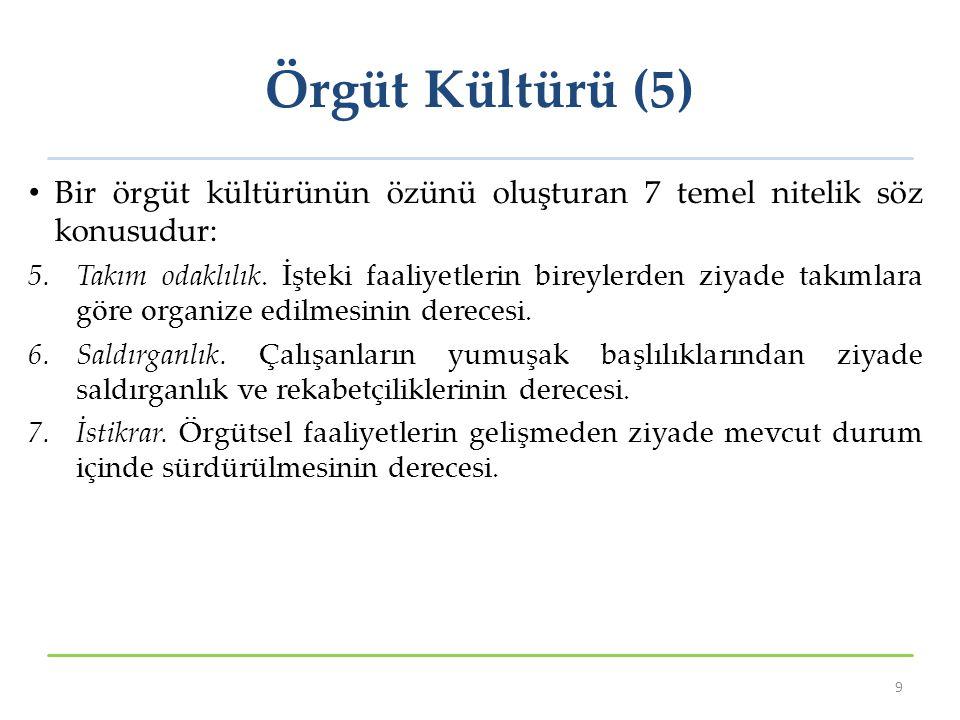 Örgüt Kültürü (6) Bütün bu nitelikler düşükten yükseğe bir devinim gösterir.