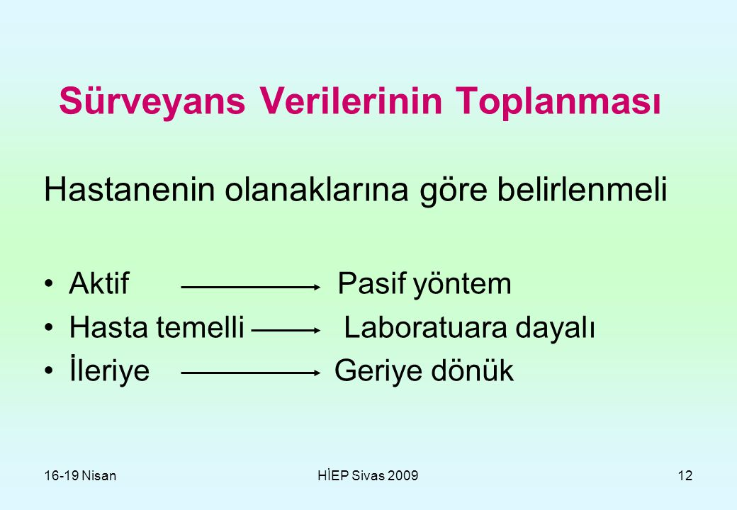 16-19 NisanHİEP Sivas 200912 Sürveyans Verilerinin Toplanması Hastanenin olanaklarına göre belirlenmeli Aktif Pasif yöntem Hasta temelli Laboratuara d