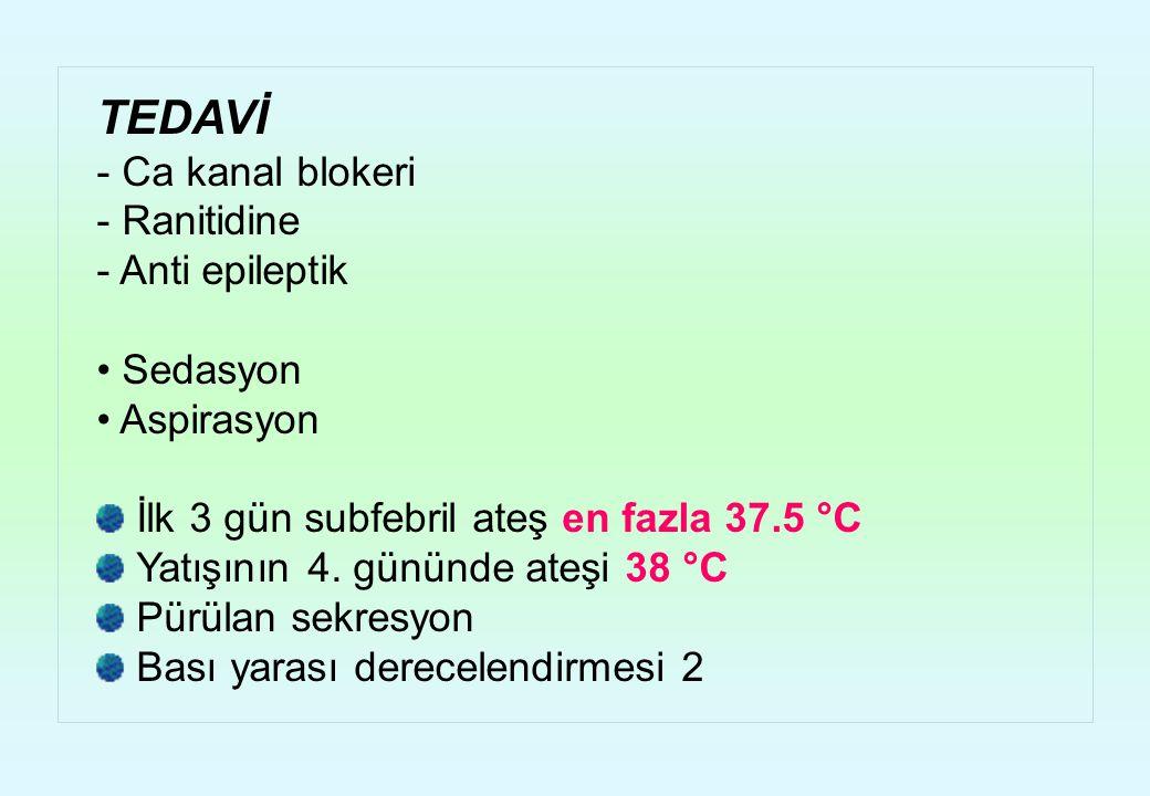 TEDAVİ - Ca kanal blokeri - Ranitidine - Anti epileptik Sedasyon Aspirasyon İlk 3 gün subfebril ateş en fazla 37.5 °C Yatışının 4. gününde ateşi 38 °C