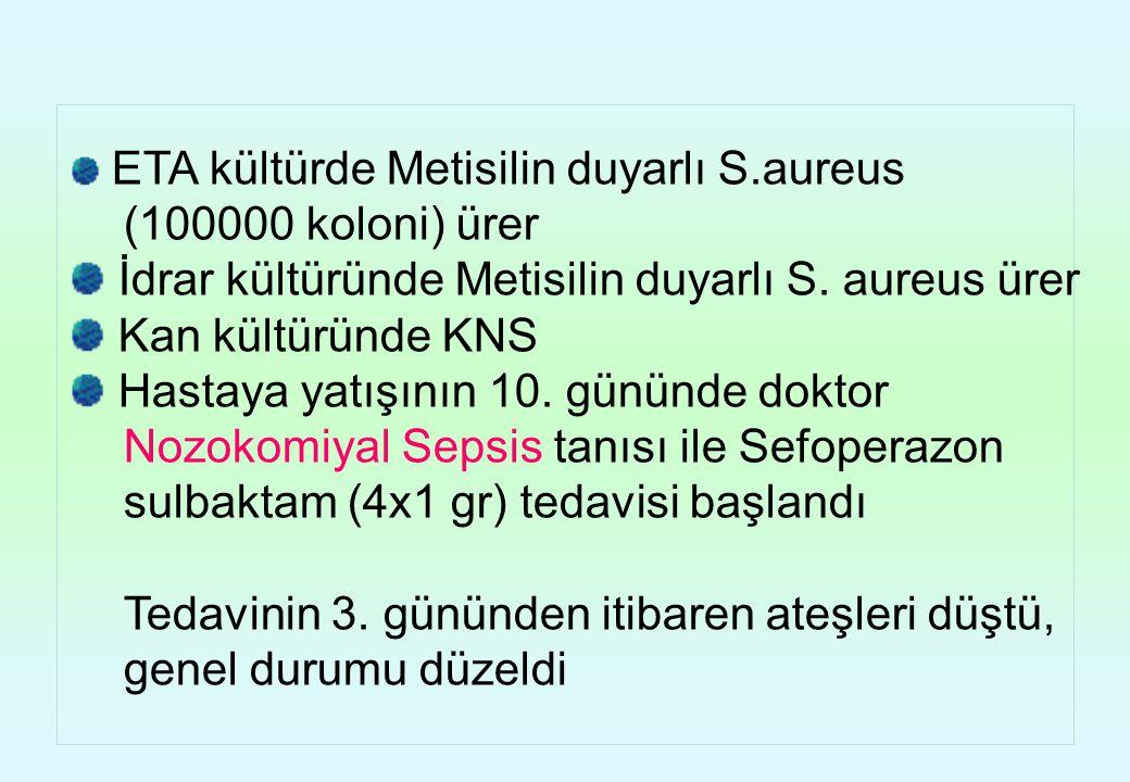 ETA kültürde Metisilin duyarlı S.aureus (100000 koloni) ürer İdrar kültüründe Metisilin duyarlı S. aureus ürer Kan kültüründe KNS Hastaya yatışının 10