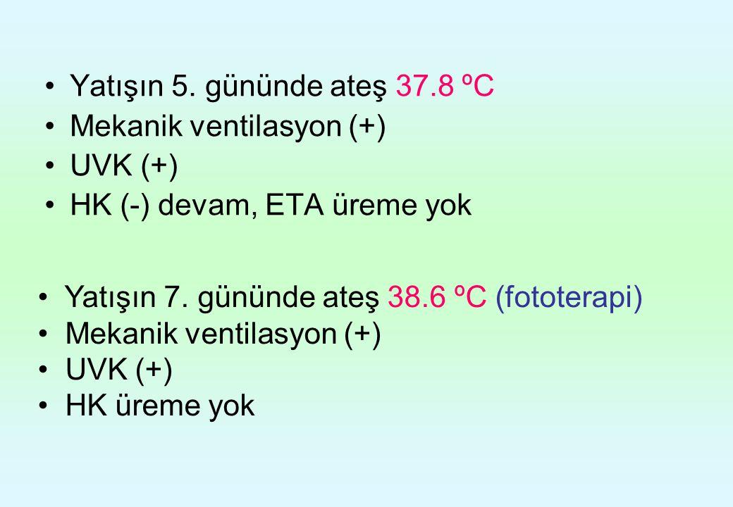 Yatışın 5. gününde ateş 37.8 ºC Mekanik ventilasyon (+) UVK (+) HK (-) devam, ETA üreme yok Yatışın 7. gününde ateş 38.6 ºC (fototerapi) Mekanik venti