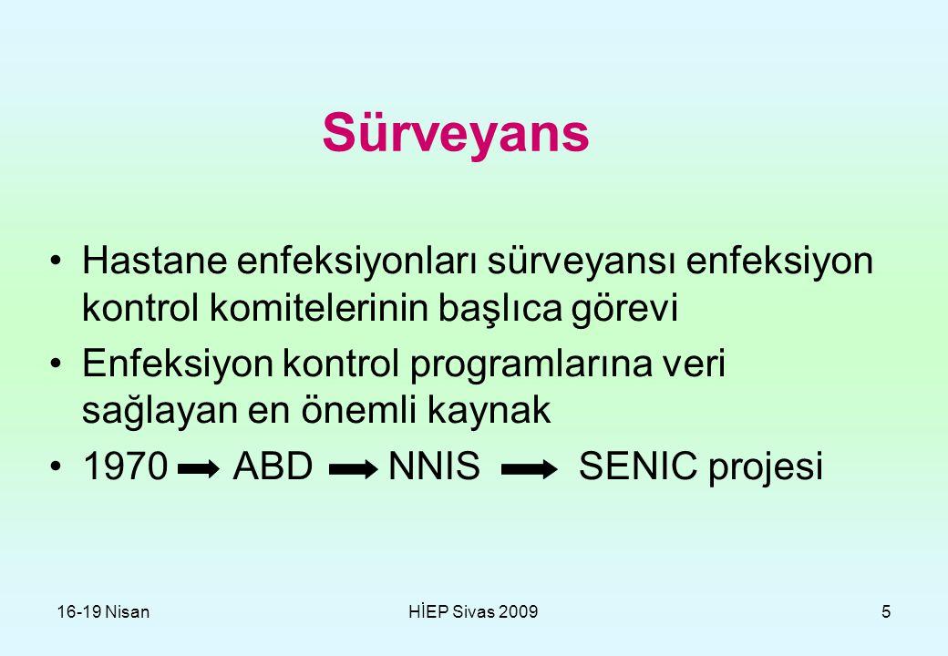 16-19 NisanHİEP Sivas 20095 Sürveyans Hastane enfeksiyonları sürveyansı enfeksiyon kontrol komitelerinin başlıca görevi Enfeksiyon kontrol programları