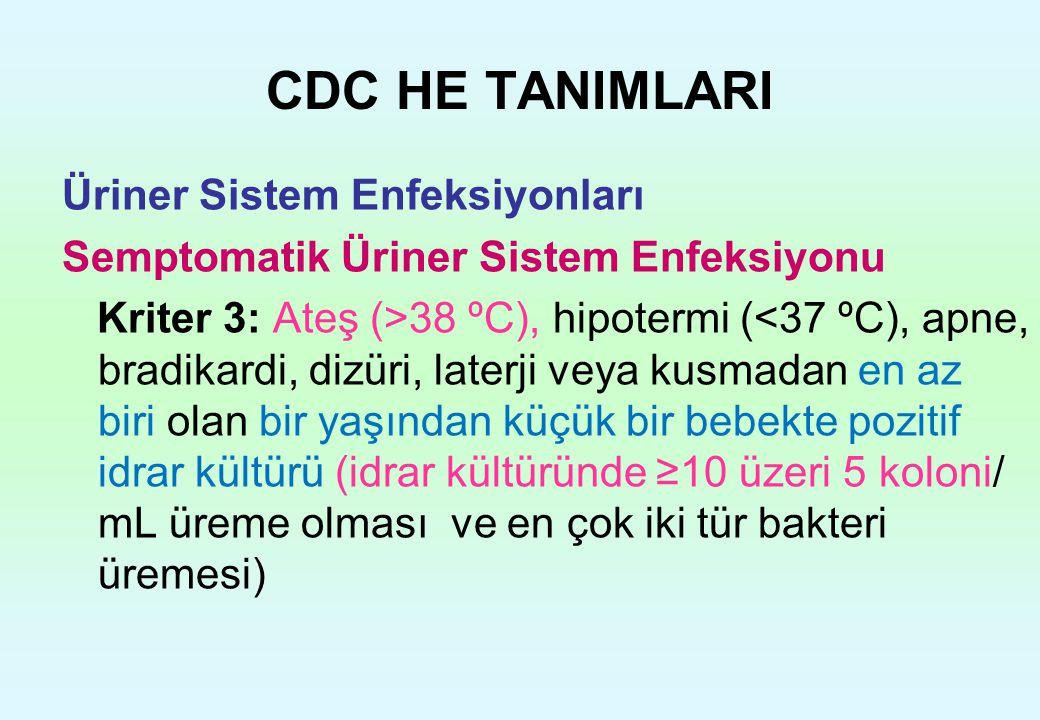 CDC HE TANIMLARI Üriner Sistem Enfeksiyonları Semptomatik Üriner Sistem Enfeksiyonu Kriter 3: Ateş (>38 ºC), hipotermi (<37 ºC), apne, bradikardi, diz