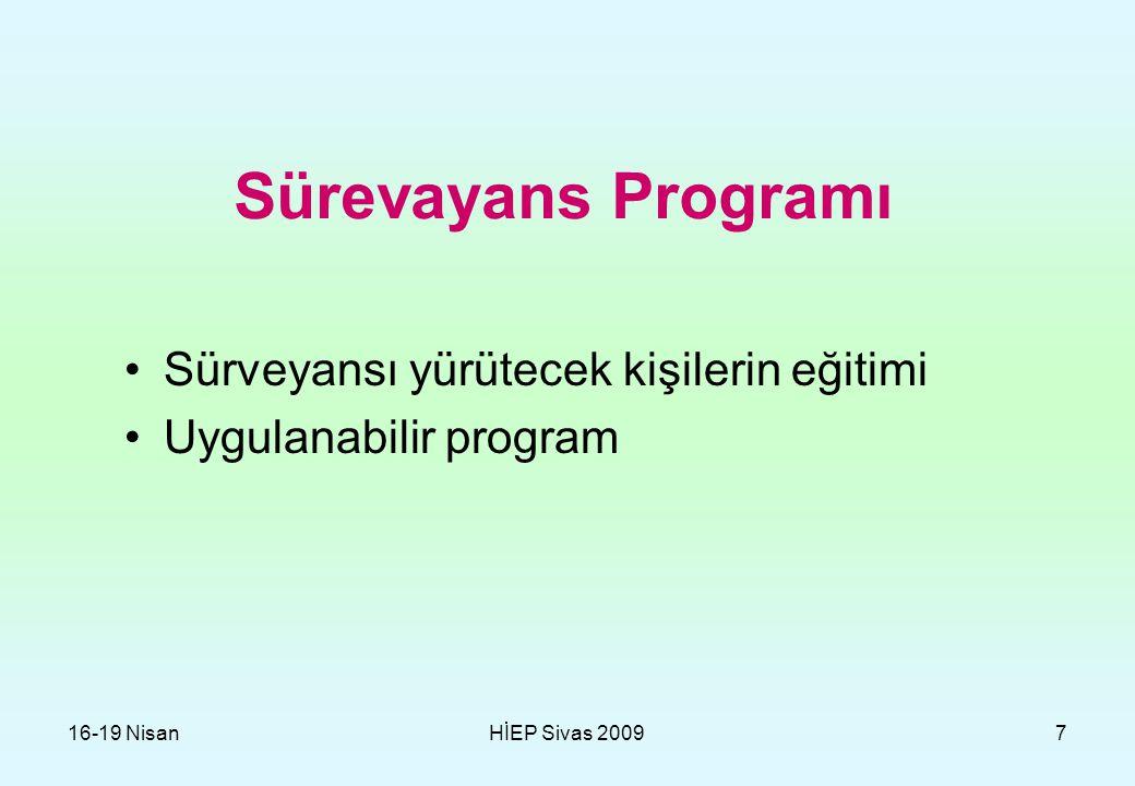 16-19 NisanHİEP Sivas 20097 Sürevayans Programı Sürveyansı yürütecek kişilerin eğitimi Uygulanabilir program