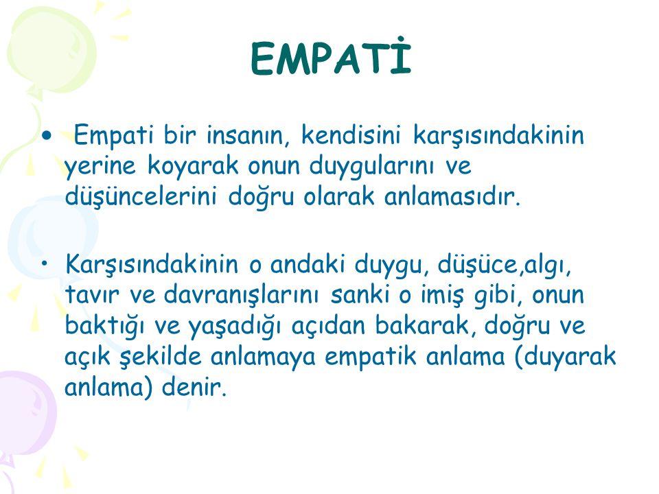 EMPATİ Empati bir insanın, kendisini karşısındakinin yerine koyarak onun duygularını ve düşüncelerini doğru olarak anlamasıdır. Karşısındakinin o anda
