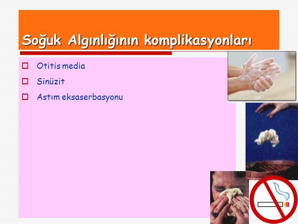 23 Soğuk Algınlığının komplikasyonları  Otitis media  Sinüzit  Astım eksaserbasyonu